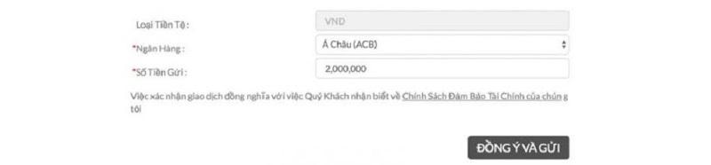 Form nạp tiền bằng VNDirect nhanh
